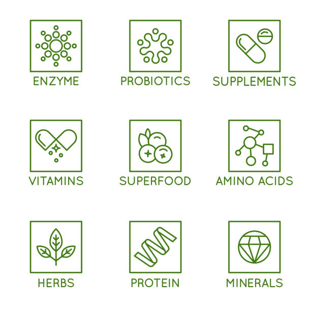 Vector set of icons and badges for packaging for natural health products, vitamins, supplements Vector set of icons and badges for packaging for natural health products, vitamins, supplements - healthy eating and dieting - set of design elements for organic and bio products probiotic stock illustrations