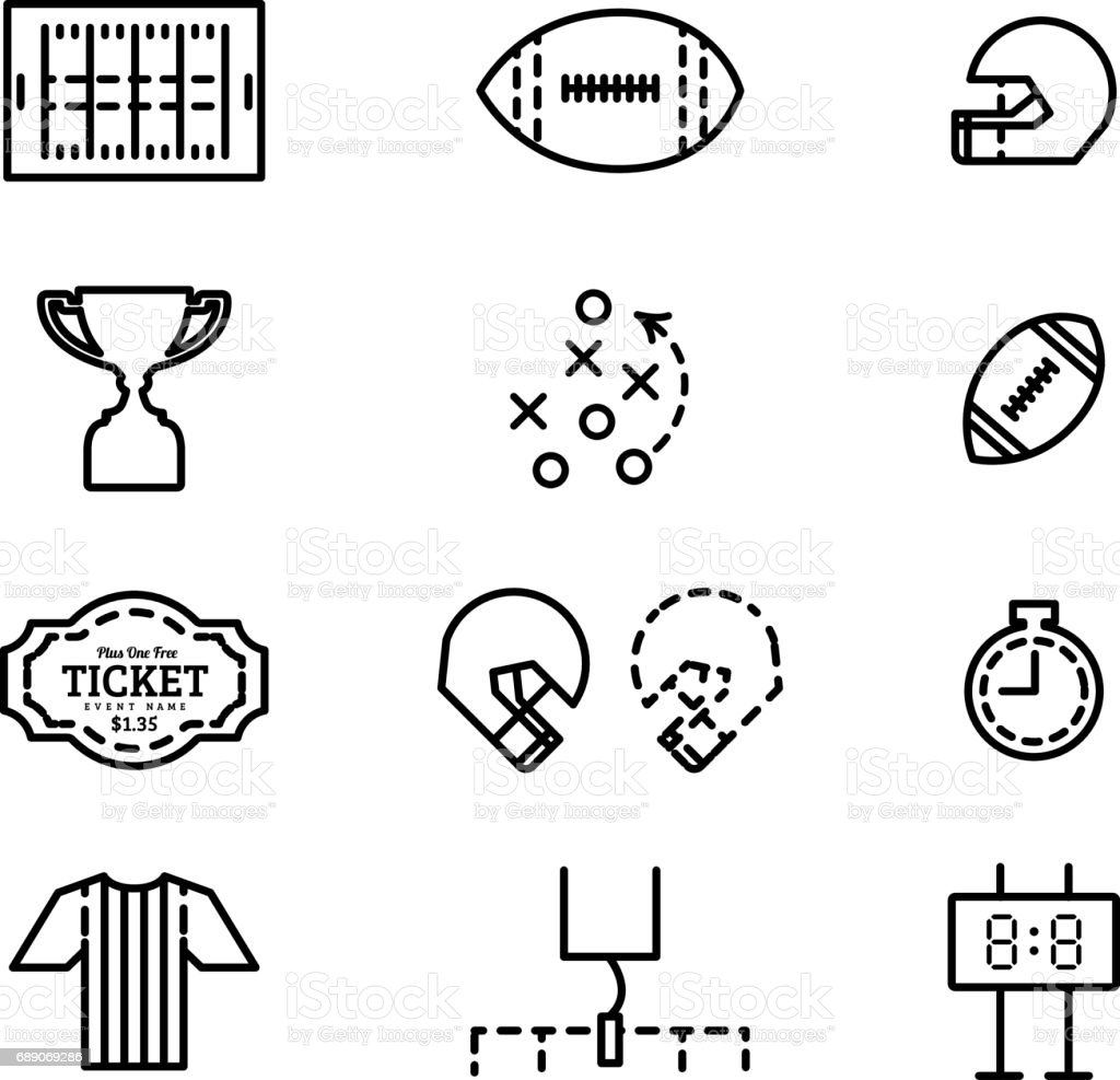 Vector set of icons for american football. vector art illustration