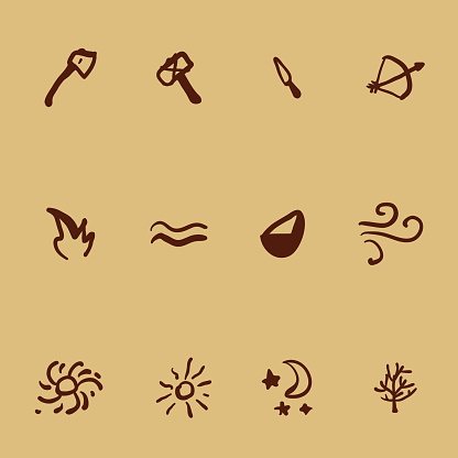 Vector Set of Icons in Cave Drawings Style. Tools and Nature Elements.