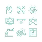 Vector set of icons in trendy linear style