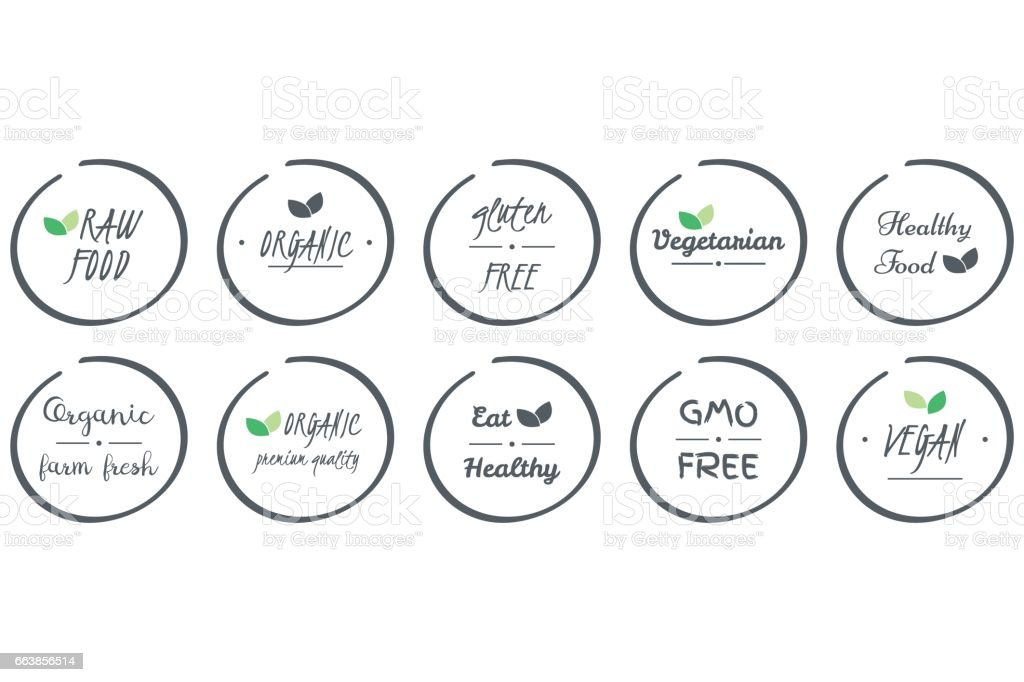 vector set of  icons of Organic, Healthy, Vegan, Vegetarian, Raw, GMO, Gluten free Food, grey circle logo symbols on white background vector art illustration