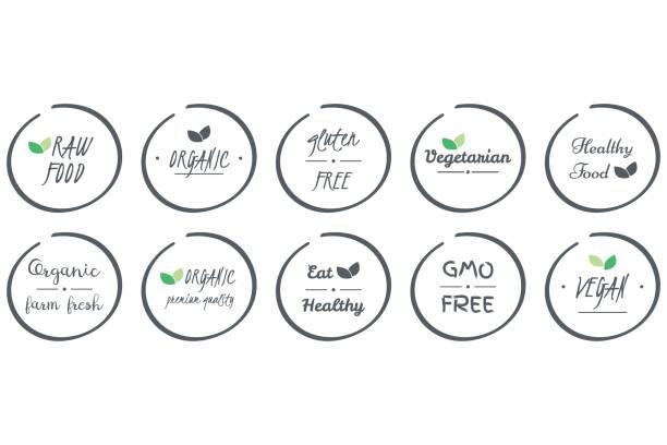 ilustraciones, imágenes clip art, dibujos animados e iconos de stock de vector conjunto de iconos de orgánica, saludable, vegano, vegetariano, primas, omg, alimentos libres de gluten, símbolos de logotipo círculo gris sobre fondo blanco - sin gluten