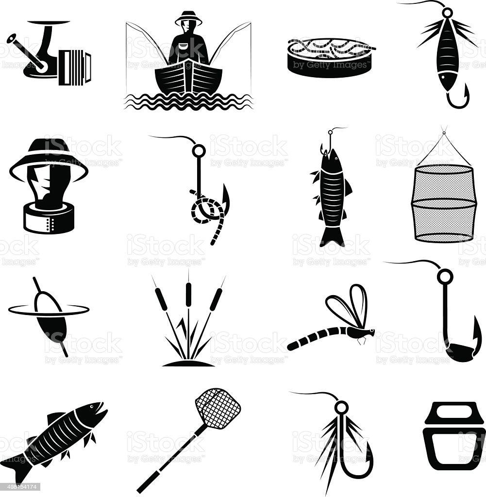 vector set of icons on fishing theme vector art illustration