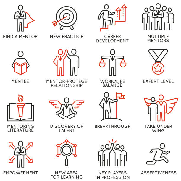 Vector set of icons related to business training, consulting service Vector set of icons related to career progress, corporate management, business people training, tutorship and professional consulting service. Mono line pictograms and infographics design elements - part 4 confidence stock illustrations