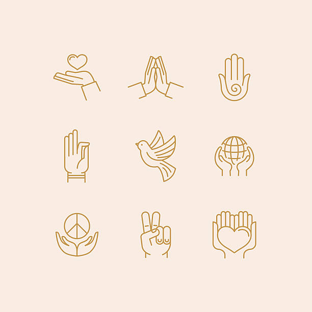 Vector set of icons Vector set of icons in trendy linear style related to religion and peace - hands and fingers peace symbol stock illustrations