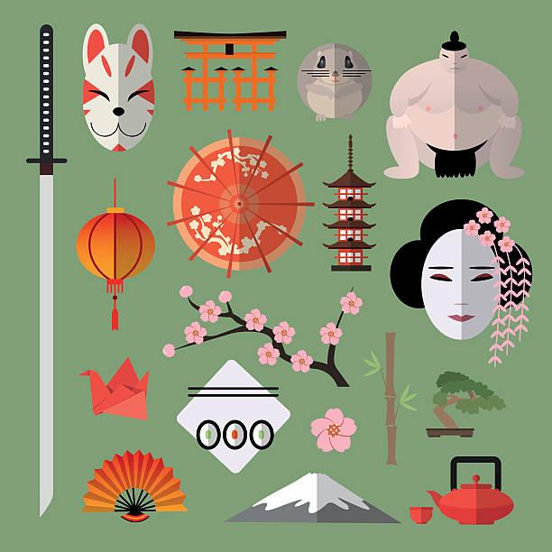 vektor ein satz von symbole mit japanischen elementen - sumo stock-grafiken, -clipart, -cartoons und -symbole