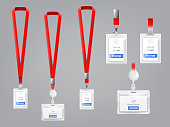 Vector set of realistic plastic badges, holders with metal clips and red lanyards, ID cards for presentation or conference visitors, press, media, office employees isolated on gray background