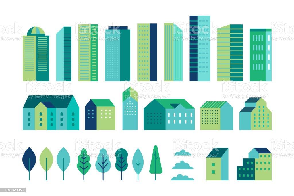 간단한 최소한의 기하학적 플랫 스타일의 일러스트 레이션 벡터 세트 - 도시 풍경 요소 - 건물및 나무 - 웹 사이트, 배너, 표지에 대한 헤더 이미지 배경에 대한 도시 생성자 - 로열티 프리 0명 벡터 아트