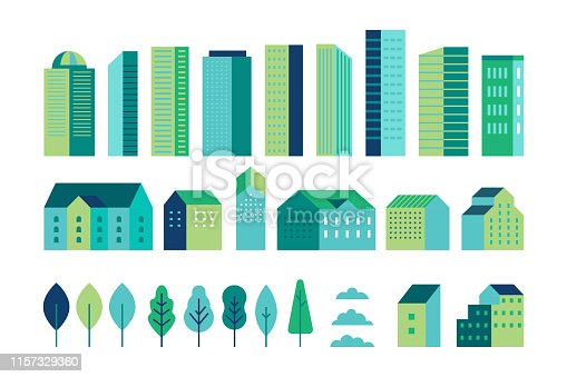 istock Vector set of illustration in simple minimal geometric flat style - city landscape elements - buildings and trees - city constructor for background for header images for websites, banners, covers 1157329360