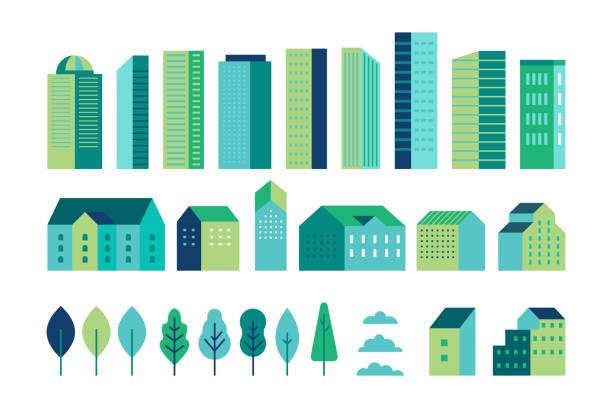 vektor-set der illustration in einfachen minimalen geometrischen flachen stil - stadt-landschafts-elemente - gebäude und bäume - stadt-konstruktor für hintergrund für kopfbilder für websites, banner, abdeckungen - flat design stock-grafiken, -clipart, -cartoons und -symbole