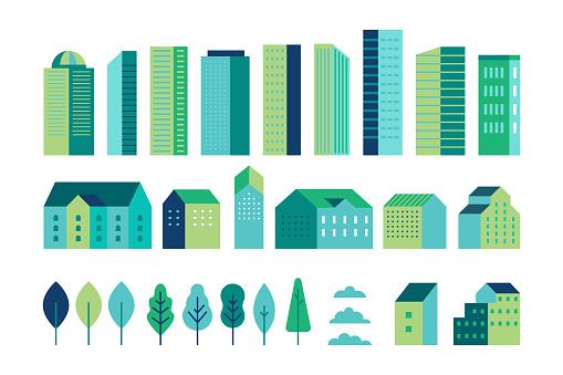 간단한 최소한의 기하학적 플랫 스타일의 일러스트 레이션 벡터 세트 도시 풍경 요소 건물및 나무 웹 사이트 배너 표지에 대한 헤더 이미지 배경에 대한 도시 생성자 0명에 대한 스톡 벡터 아트 및 기타 이미지