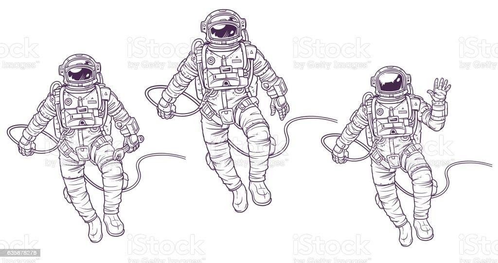 Vector set of illustrations cosmonauts - Illustration vectorielle