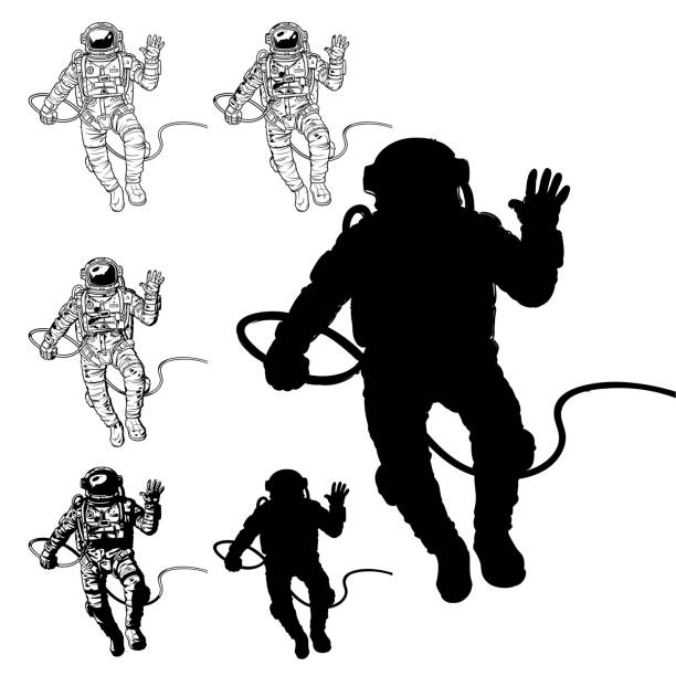 Vector set of illustrations cosmonauts Vector set of illustrations cosmonauts, astronauts on a white background. Print for T-shirts astronaut floating in space stock illustrations
