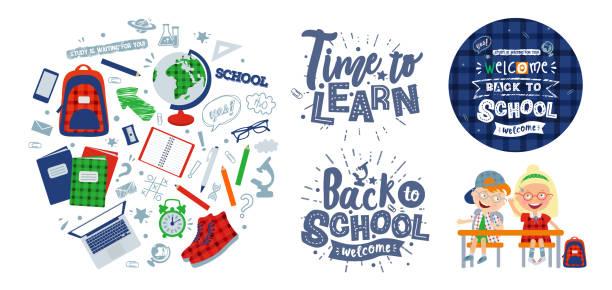 """stockillustraties, clipart, cartoons en iconen met vector set van illustraties op het thema """"terug naar school"""": personages scholieren, poster, belettering en voorwerpen voor school: rugzak, globe, sneakers, microscoop, handboeken, wekker, notepad, - schooluniform"""
