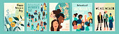 Vector set of illustrations with abstract women with different skin colors. International Womens Day. Struggle for freedom, independence, equality. Lifestyle, street fashion.