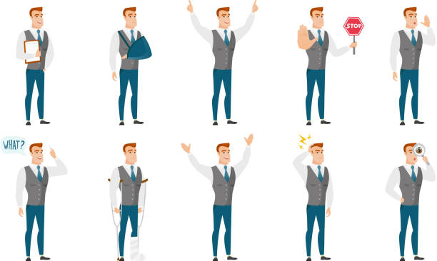 Vector set of illustrations with business people vector art illustration