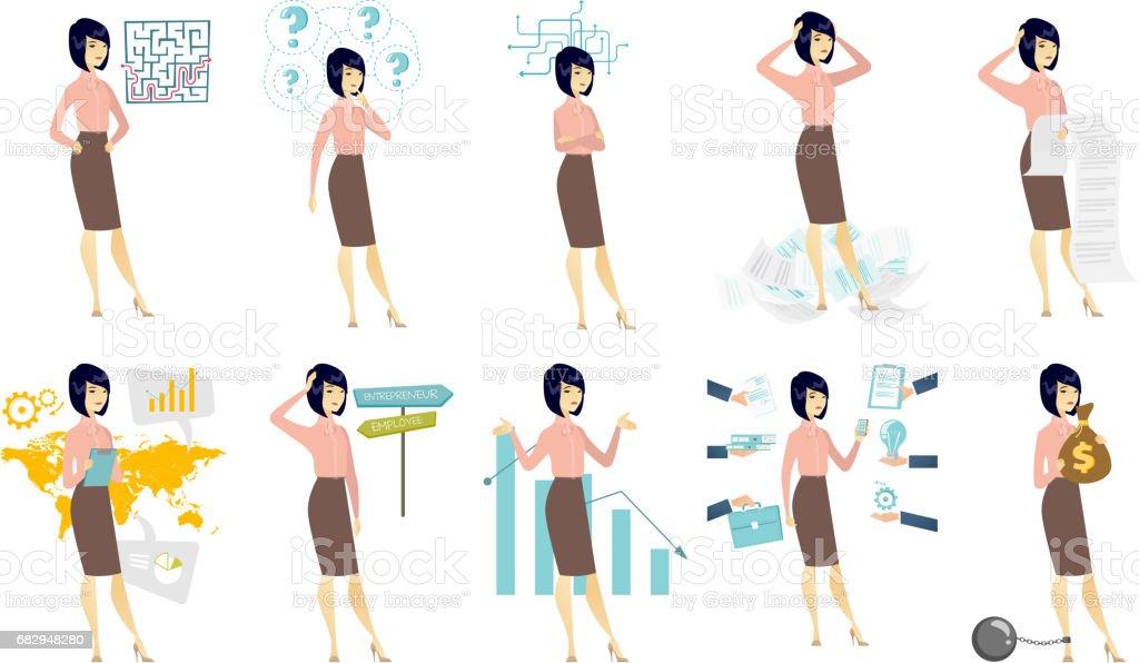 Vector conjunto de ilustraciones con gente de negocios ilustración de vector conjunto de ilustraciones con gente de negocios y más banco de imágenes de adulto libre de derechos