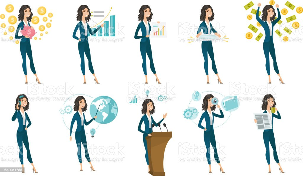 Vector set of illustrations with business people royalty-free vector set of illustrations with business people stock vector art & more images of adult
