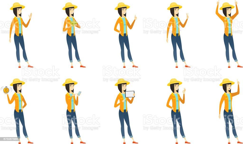 Vecteur défini des illustrations avec des personnages de l'agriculteur vecteur défini des illustrations avec des personnages de lagriculteur – cliparts vectoriels et plus d'images de agriculteur libre de droits