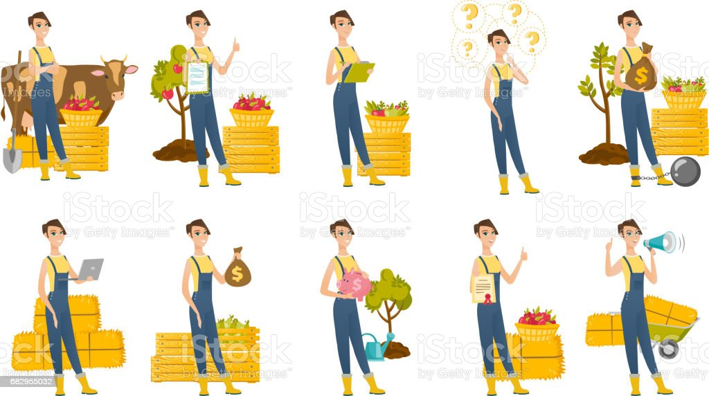 Vector set of illustrations with farmer characters royalty-free vector set of illustrations with farmer characters stock vector art & more images of agriculture minister