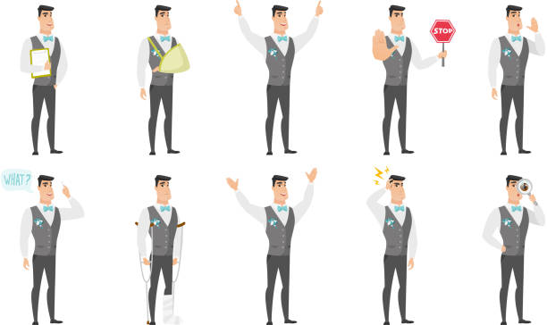 Vector set of illustrations with groom character vector art illustration