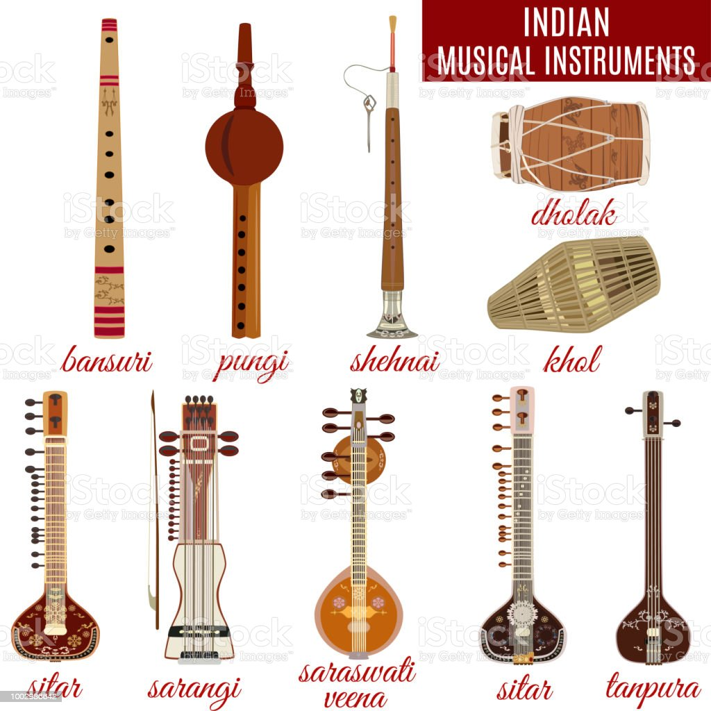 vector set of indian musical instruments stock illustration