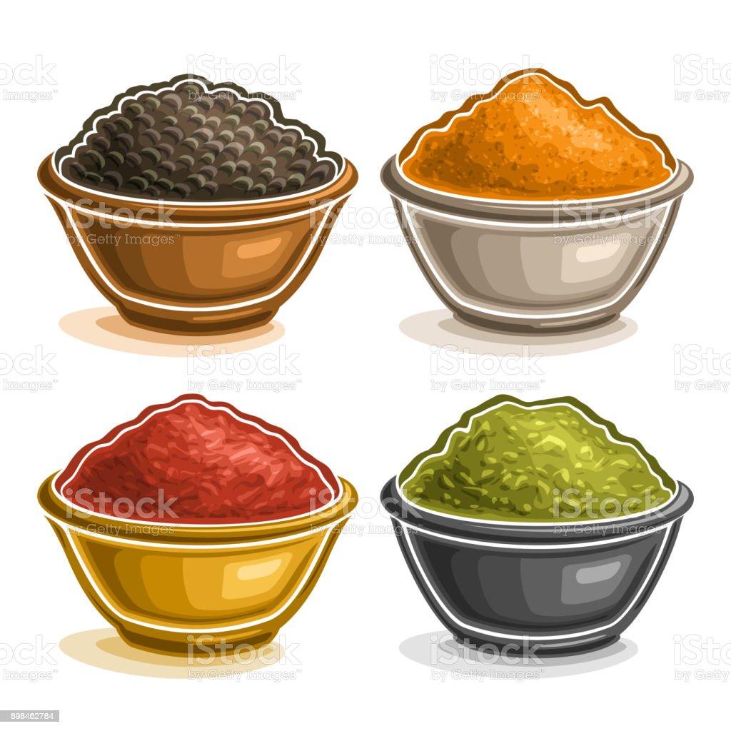 Ensemble de vecteur d'épices indiennes dans des bols - Illustration vectorielle