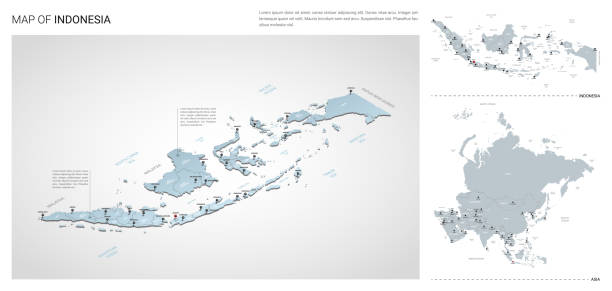 Vector set of Indonesia country.  Isometric 3d map, Indonesia map, Asia map - with region, state names and city names. Vector set of Indonesia country.  Isometric 3d map, Indonesia map, Asia map - with region, state names and city names. indonesia stock illustrations