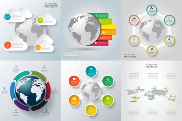 illustrations, cliparts, dessins animés et icônes de vecteur ensemble d'éléments textuels. infographie avec la terre de planète. - nuage 6