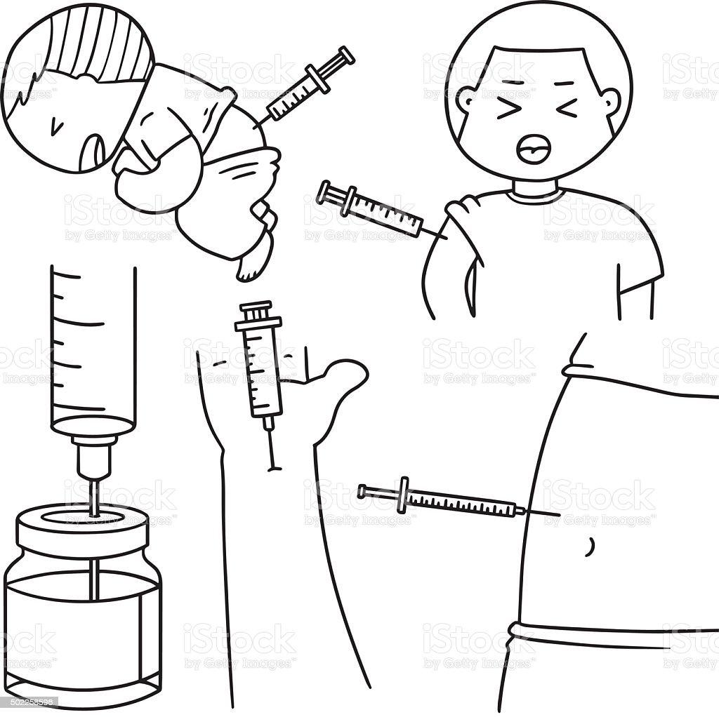 vector set of injection medicine vector art illustration
