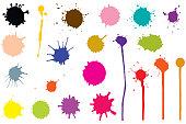 Twenty one color blots. Elements for design.