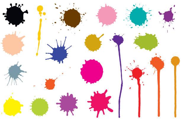 ilustrações de stock, clip art, desenhos animados e ícones de vector set of ink blobs. color splatter isolated on white background - pintura