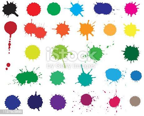 Twenty seven color blots. Elements for design.