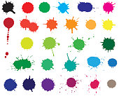Twenty seven color blots. Elements for design.