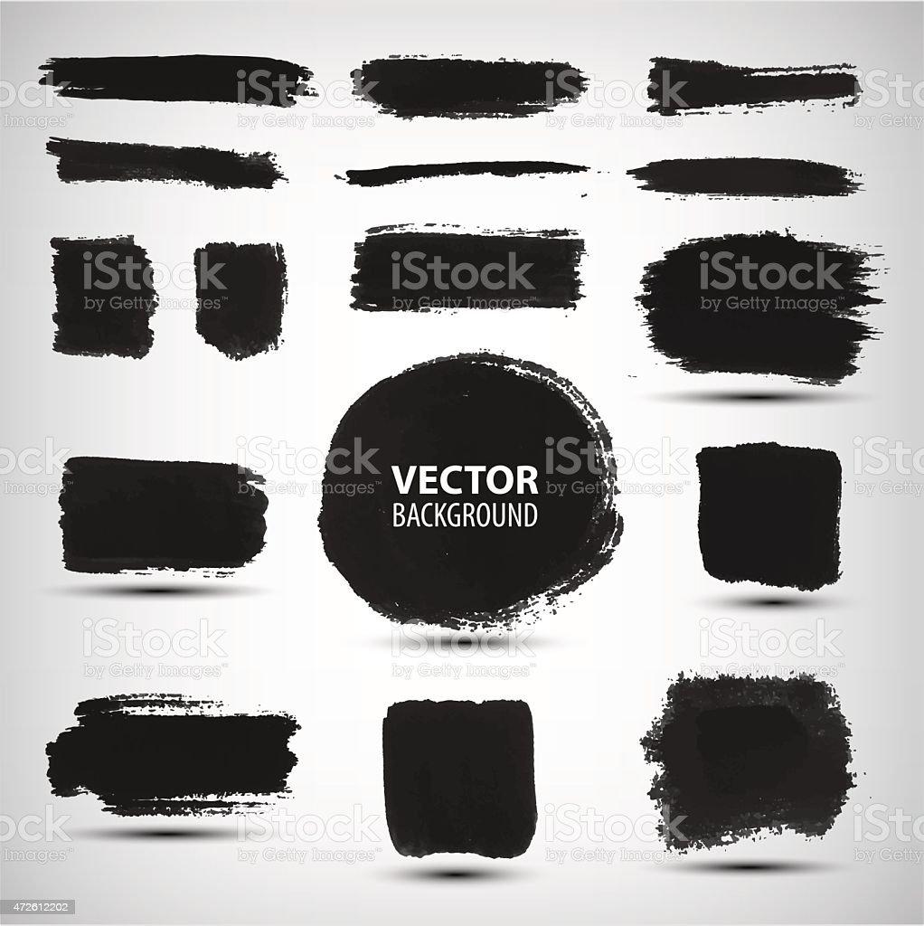 Vector set of ink brush strokes vector art illustration