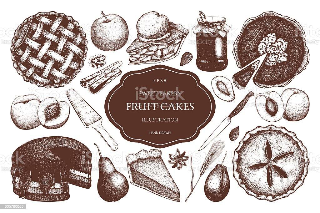 Vector set of ink hand drawn fruit desserts. ベクターアートイラスト