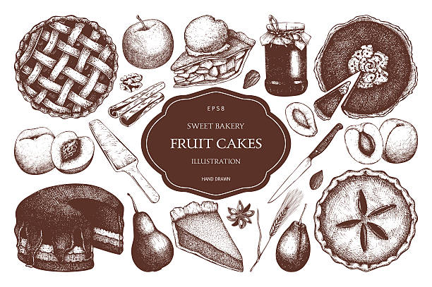 vector set of ink hand drawn fruit desserts. - 高級料理点のイラスト素材/クリップアート素材/マンガ素材/アイコン素材