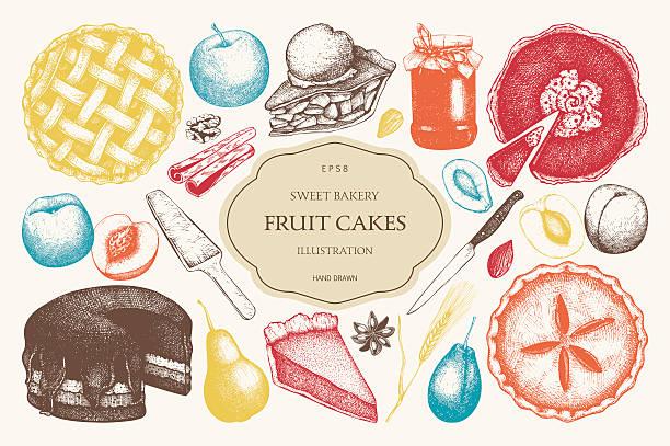vector set of ink hand drawn fruit desserts. - pflaumenkuchen stock-grafiken, -clipart, -cartoons und -symbole
