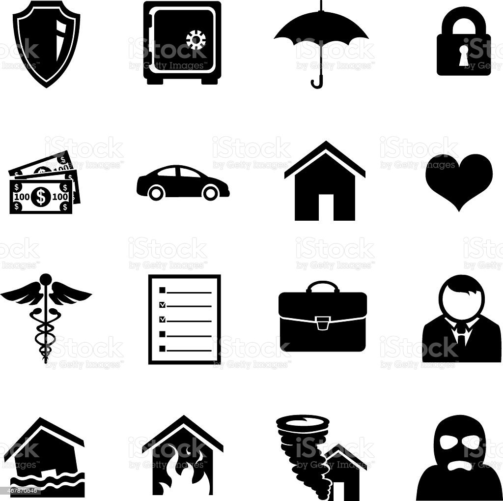 Vector Set of Insurance Icons vector art illustration