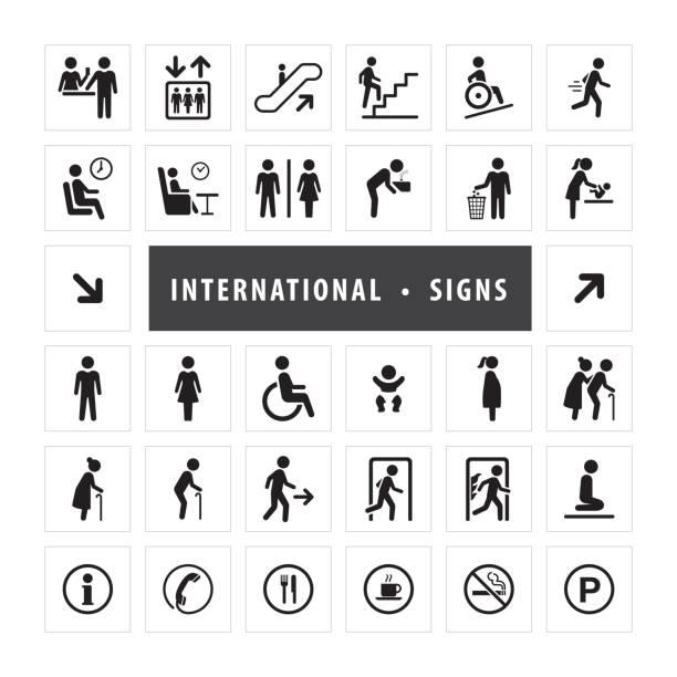 Vector set of international direction signs vector art illustration