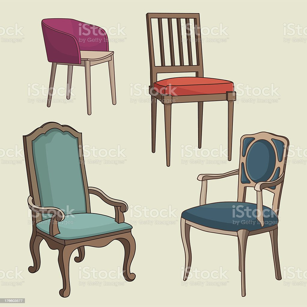 Vector Set of Armchairs royalty-free stock vector art