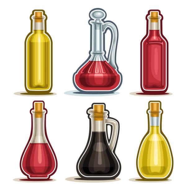 vektor-isolierte flaschen set - dressing stock-grafiken, -clipart, -cartoons und -symbole