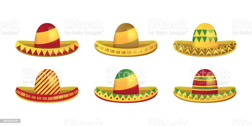 vector set of isolated cartoon mexican sombrero hats for decoration