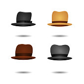 Vector set of isolated cartoon vintage fedora hats on the white background for photo decoration.