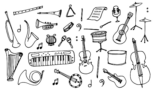 Vector set of isolated elements Musical instruments drawn by hand in the doodle style black outline on white background for the design template.Sheet music, drum flute, violin cello, etc