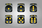 Vector set of isolated gaming black dice. A collection of dice to play from different sides.