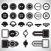 Vector set of isolated icons of buttons in flat style in full face and profile. Button in the loop, loop clothing, beads