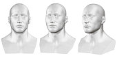 Vector set of isolated male busts of mannequins on white background. 3D. Male bust from different sides. Vector illustration.