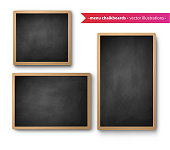 Vector set of isolated square and vertical menu boards with shadow on white background.