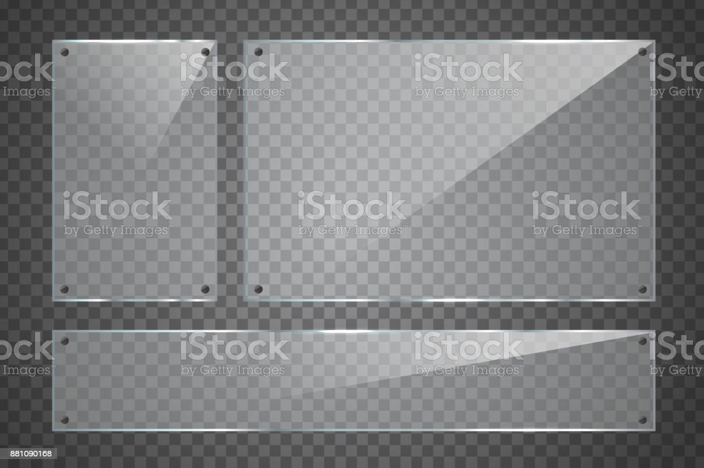 Vector set of isolated realistic glass billboard on the transparent background for decoration and covering. vector art illustration
